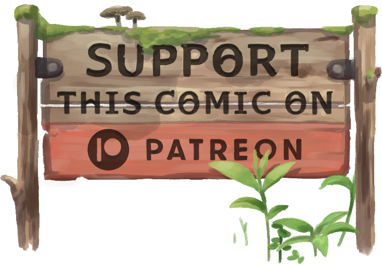 Mossy wooden sign reading: Support This Comic on Patreon