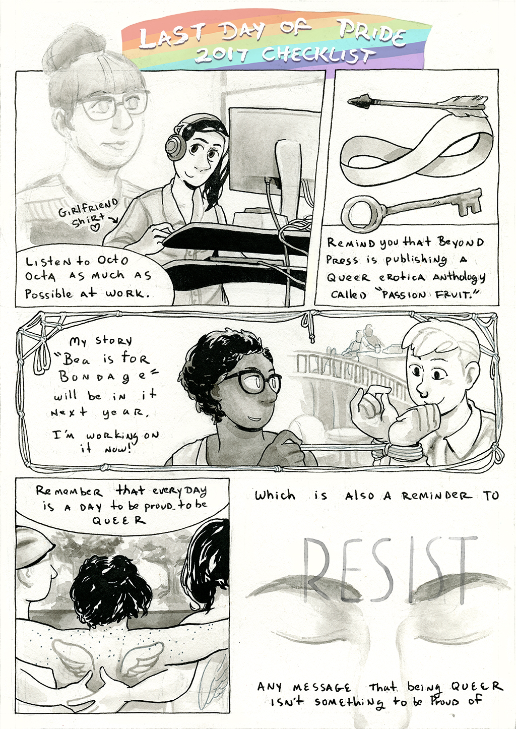 Diary comic page outlining last day of pride checklist. Transcription below.