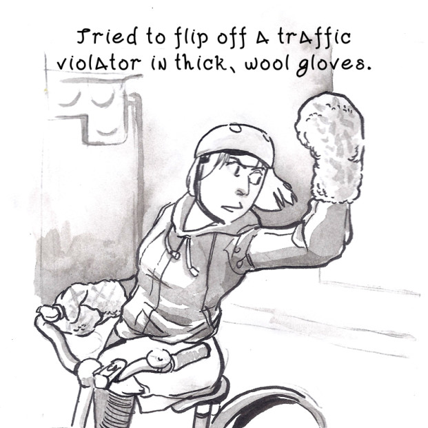 Pen and inkwash drawing of Naomi shaking a gloved fist while riding a bicycle. Text reads: Tried to flip off a traffic violator in thick, <a href=