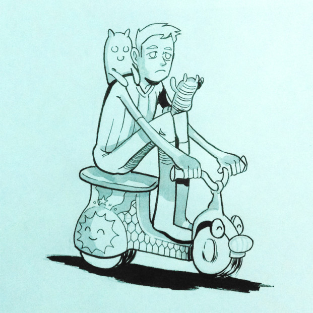 Pen and inkwash fanart drawing of the character Shay from the digital game Broken Age. In the drawing, teenager Shay is riding a little kid's scooter.