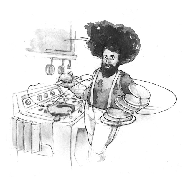 A pen and inkwash drawing of musical comedian Reggie Watts making a large stack of pancakes at an oven styled after his trademark sound looping machine